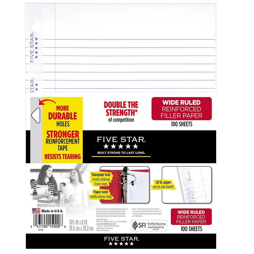 Five Star Loose Leaf Paper, 3 Hole Punched, Reinforced Filler Paper, Wide Ruled, 10-1/2'' x 8'', 100 Sheets/Pack (15000)