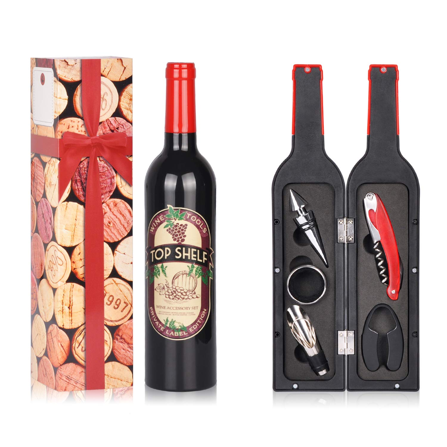 Wine Accessories Gift Set - 5 Pcs Deluxe Wine Corkscrew Opener Sets Bottle Shape in Elegant Gift Box Great Wine Gifts Idea for Wine Lovers Friends ...  sc 1 st  Amazon.com & Amazon.com | Wine Accessories Gift Set - 5 Pcs Deluxe Wine Corkscrew ...