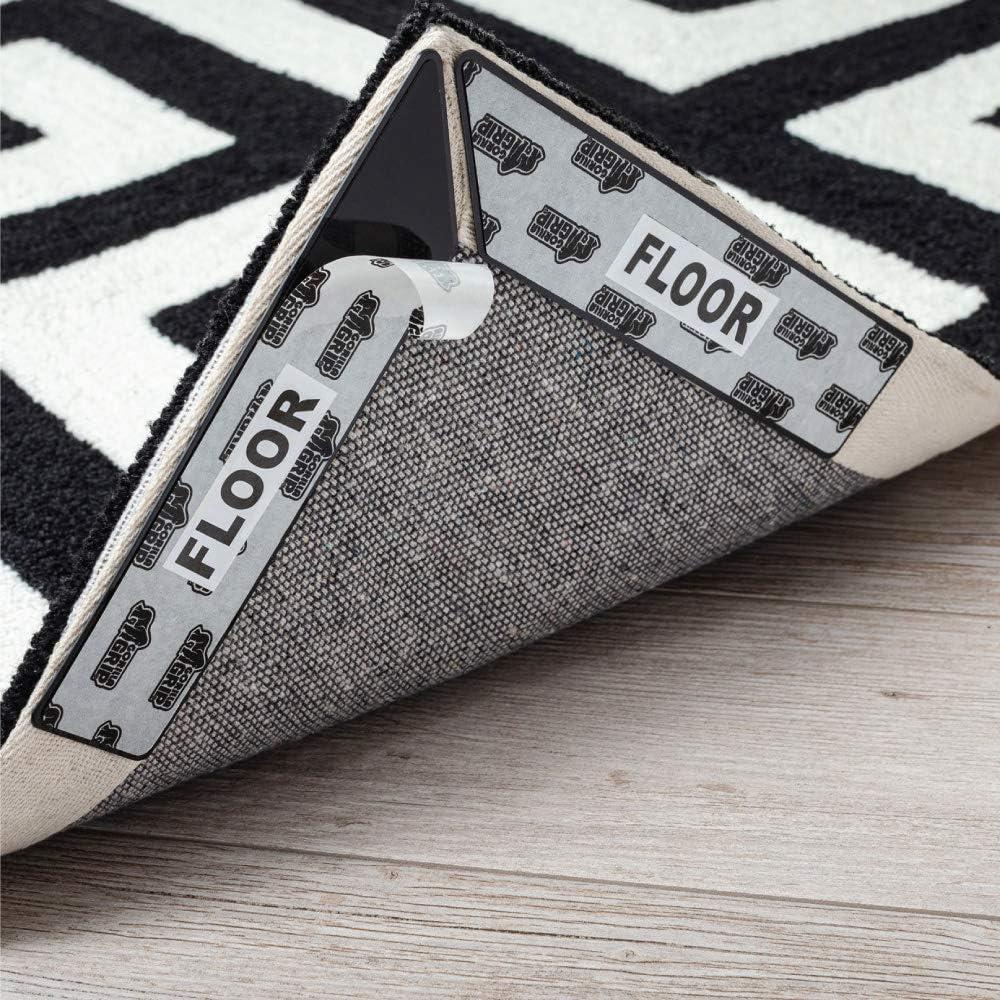 Gorilla Grip Rug Gripper, Dual Sided Anti Curl Corner Side Grippers, Washable Patent Pending Pads, Keep Area Rugs Flat on Hardwood Floors, Adhesive Liner Pad Grips Carpet Corners, Easy Peel, 8 Piece