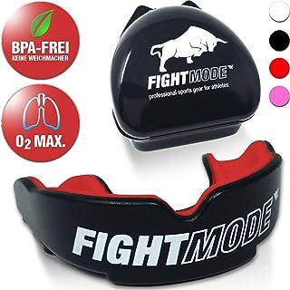 weletix - Paradenti Professionale + Scatola + Max. O2 + paradenti Senza BPA, Tenuta sicura Durante Le Arti Marziali, MMA, Krav Maga (Rosso Acceso)