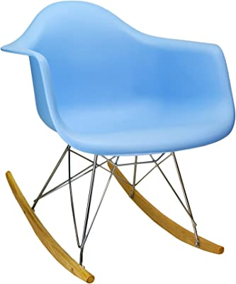 Design Tree Home Eames Mid Century Modern RAR Rocker, Blue