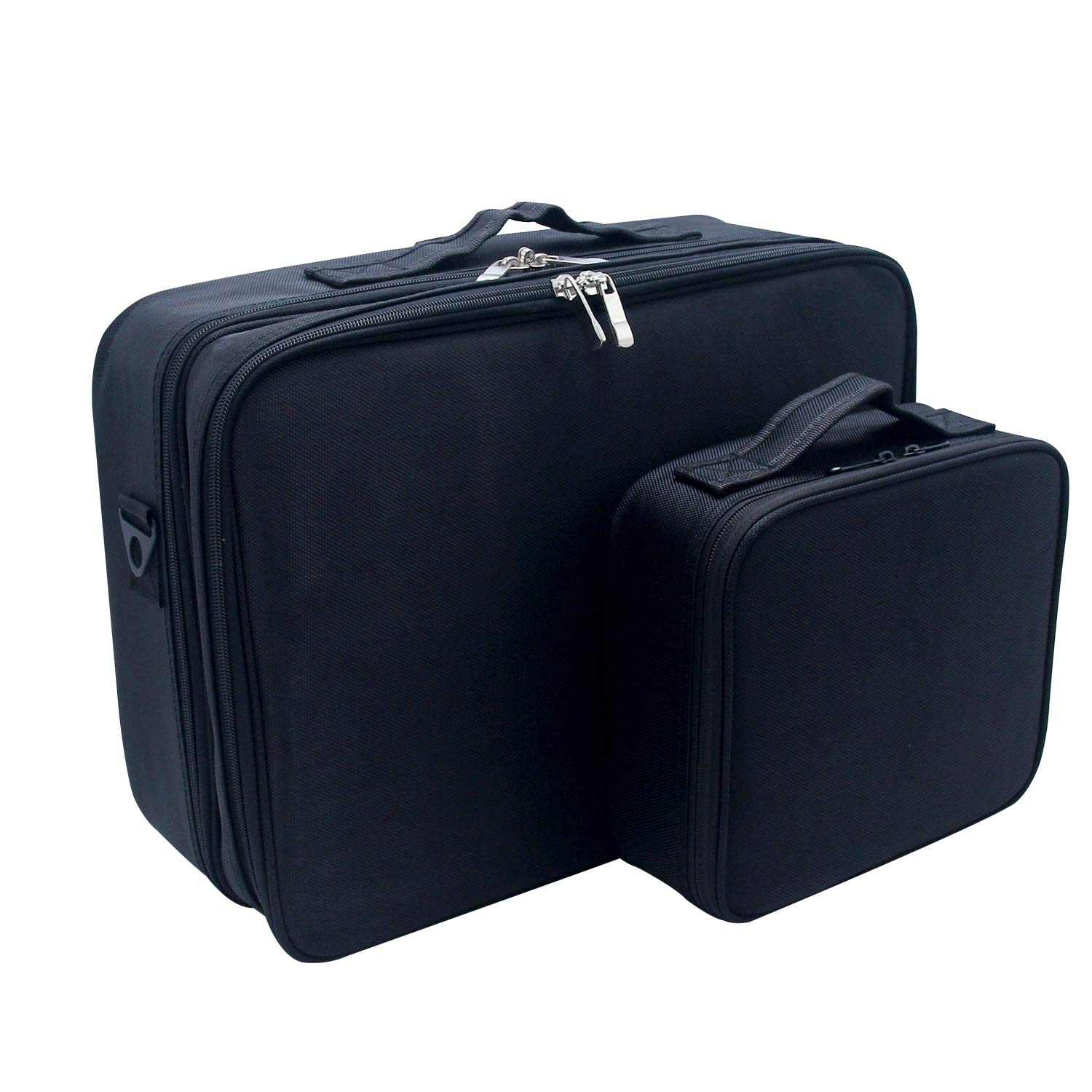 MONSTINA Cosmetic Bag Cosmetic Organizer Beauty Artist Storage Brush Box Large+Small,The Large One With Shoulder Strap(S+L,2Pcs Black)