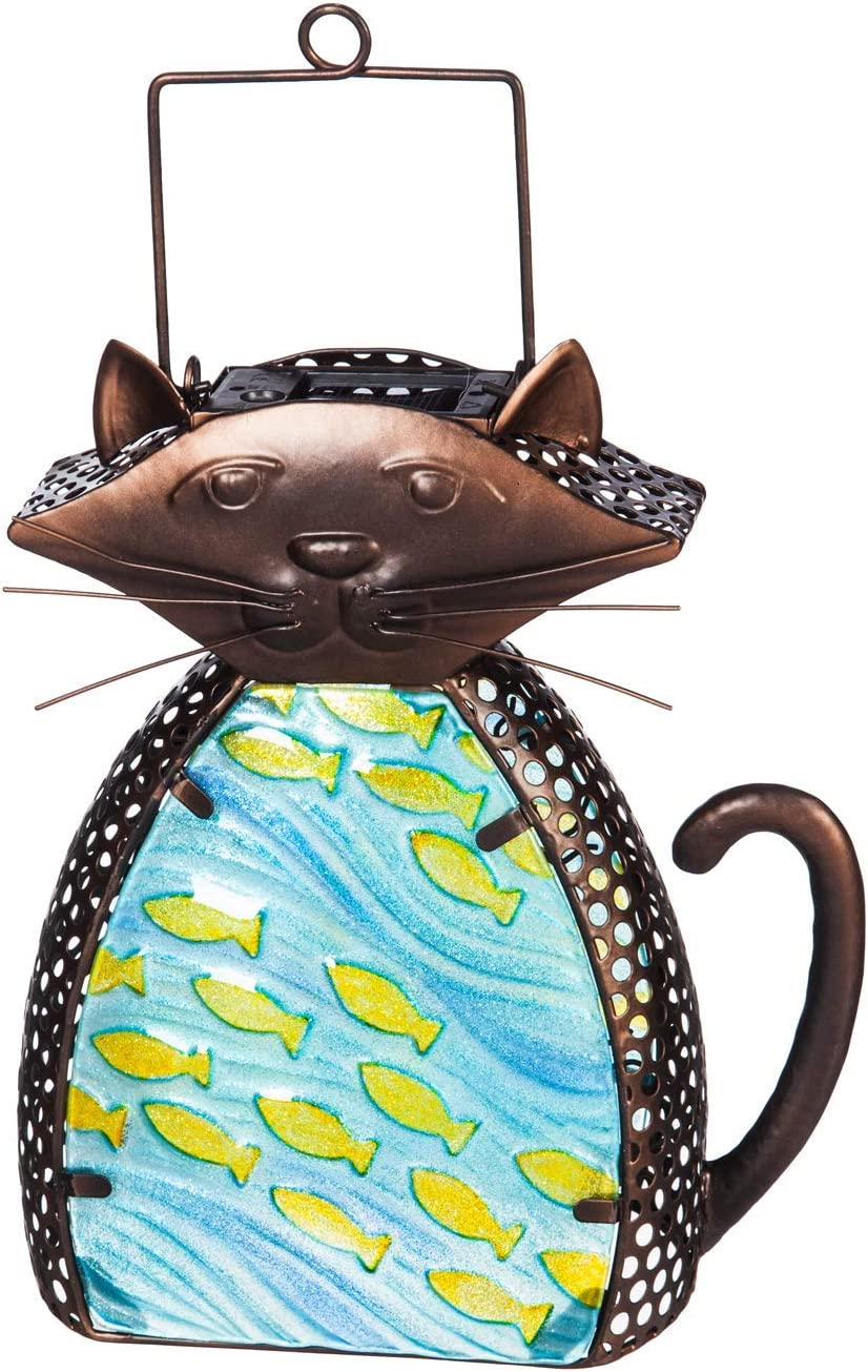 "Evergreen Garden 8.3"" Solar Glass Lantern in Cute Cat Design!"