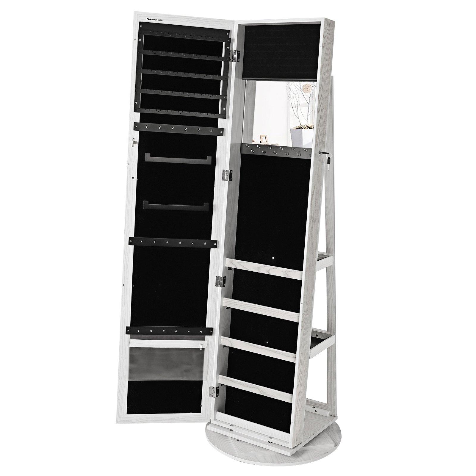 SONGMICS Espejo joyero Giratorio a 360º Armario de pie Organizador de joyerías 5 Compartimentos JBC62W product