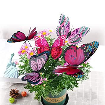Pizies 12 Pieces Dragonfly Stakes 3D Outdoor Yard Planter Flower Pot Party Festival Decor