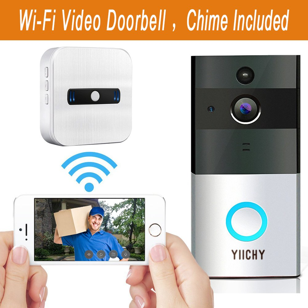 Wifi Wireless Video Doorbell, Built-in 8G 720P HD Smart Doorbell with Video Doorbell Monitor with Chime, Infrared Night Vision, PIR Motion Detection Alerts, Two-Way Talk and Video for IOS /Android (1)