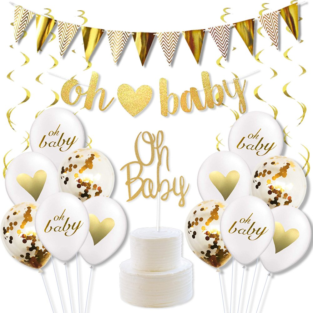 Baby Shower Decorations Gender Neutral Boy or Girl Gender Reveal Party Supplies with Oh Baby Banner Cake Toppers Confetti Balloons and Gold Swirl Pack LUCK COLLECTION