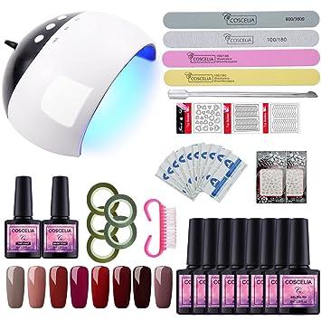 Saint-Acior 8PCS/Esmaltes Semipermanentes/Kit Uñas de Gel/Soak off 8ml/ con 24W UV/LED Profesional LED Lámpara+Primer+ Capa Superior Nail Art: Amazon.es: ...