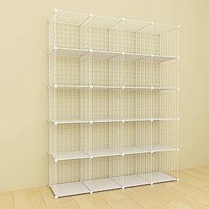 SIMPDIY Metal Wire Storage Rack Modular Organizer Bookshelf Large Capacity Simple Storage Shelves 20 Cubes White