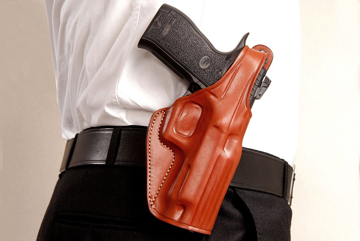 Amazon com : Premium Leather OWB Paddle Holster with Thumb