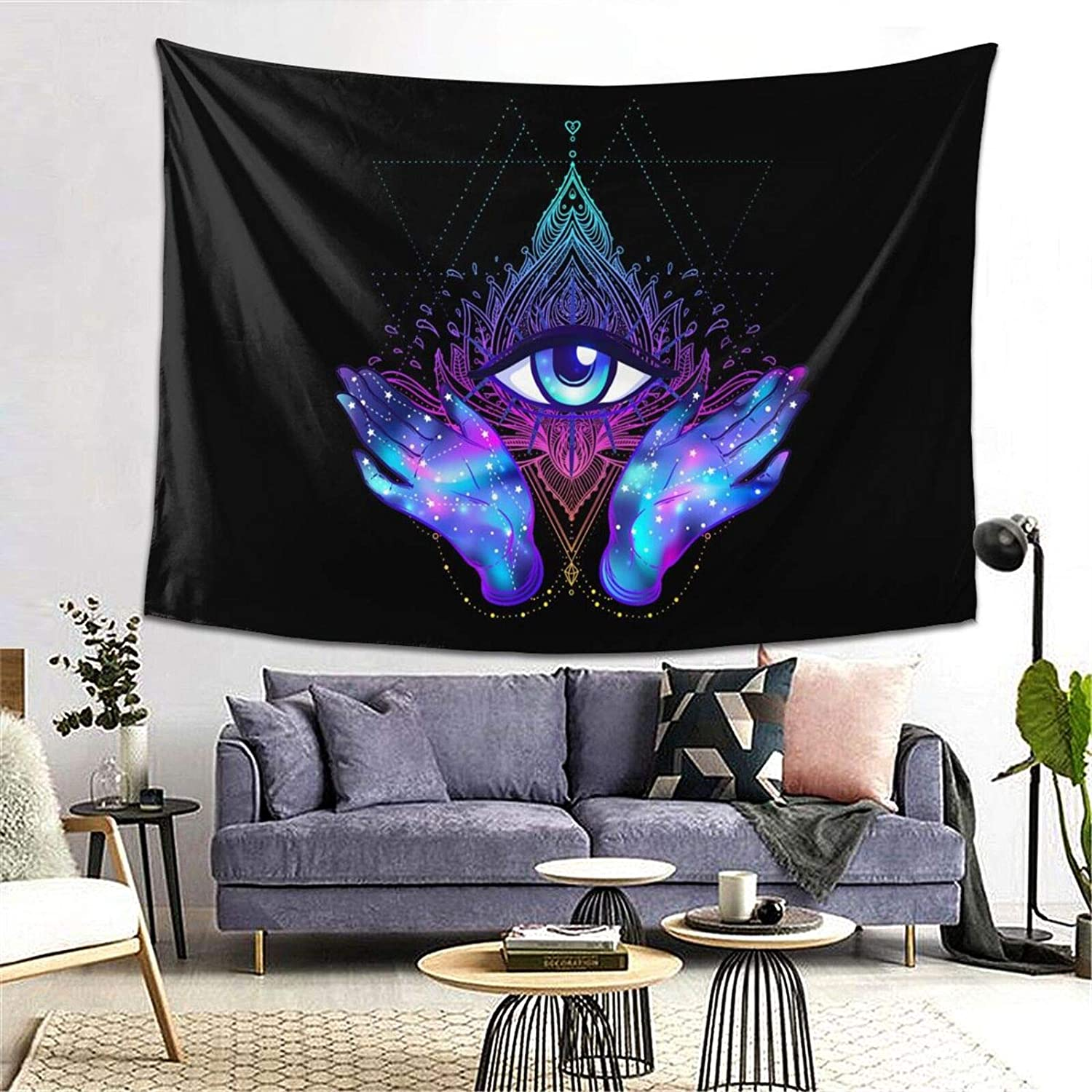 Psychedelic Trippy Black Purple Hamsa Hand Evil Eye Masonic Blessing Home Good Luck Tapestry Wall Hanging Trends Poster For Living Room Dorm Room Bedroom Home Decor