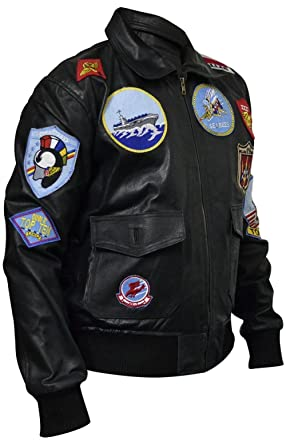 SleekHides Mens Top Gun Fashion Leather Jacket