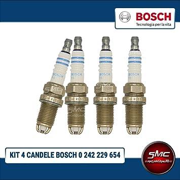 - SMC - Kit de 4 bujías de encendido originales de - Bosch -. Código artículo: 0242229654: Amazon.es: Coche y moto