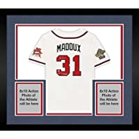 "$1099 » Framed Greg Maddux Atlanta Braves Autographed 1995 Mitchell & Ness Authentic Jersey with""1995 WS Champs"" Inscription - Autographed MLB…"