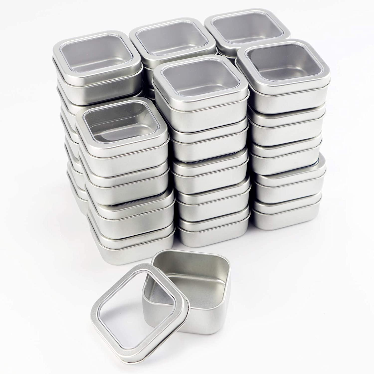 Square Metal Tins with Window Lids by Celebrate It, 30ct.