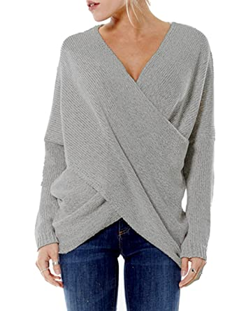 eshion Women's V-Neck Drop Shoulder Sleeve Cross Wrap Pullover ...