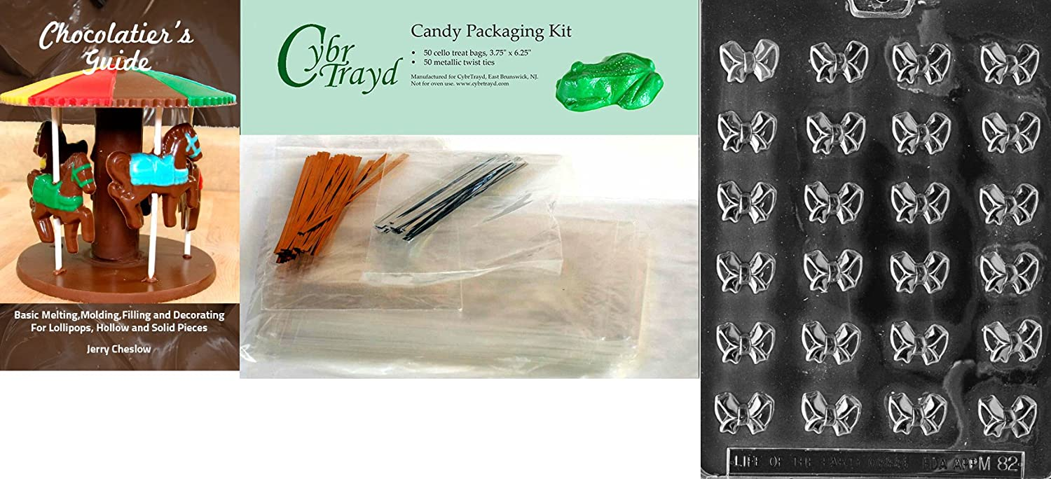 CybrtraydBite Size Bows Miscellaneous Chocolate Mold with Chocolatiers Bundle 9x12 Clear Includes 50 Cello Bags 25 Gold and 25 Silver Twist Ties
