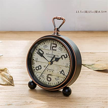 RFVBNM Retro clock ornaments Old European clocks living room Desktop clock clock antique wall clock small
