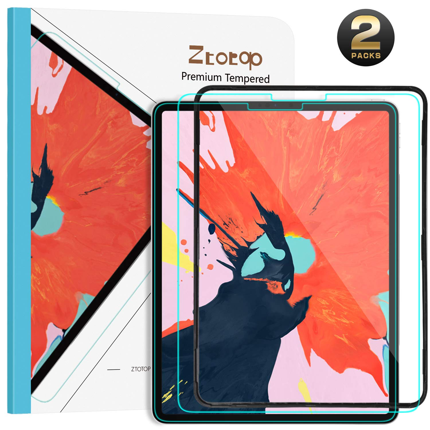 Ztotop Screen Protector for iPad Pro 12.9 inch 2018(3rd Gen), [2 Pack] High Definition/Scratch Resistant/iPad Pencil Compatible 9H Tempered Glass Screen Protector for iPad Pro 12.9 Inch 2018 Release