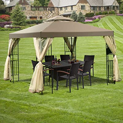 10' x 10' Awning Patio Screw-free Structure Canopy Tent Home Garden Lawn Outdoor Living Outdoors Canopies Shade House Décor Yard Awnings Marquees Tents, Baldachin, Baldaquin, Balcony, Backyard, Patio. : Garden & Outdoor