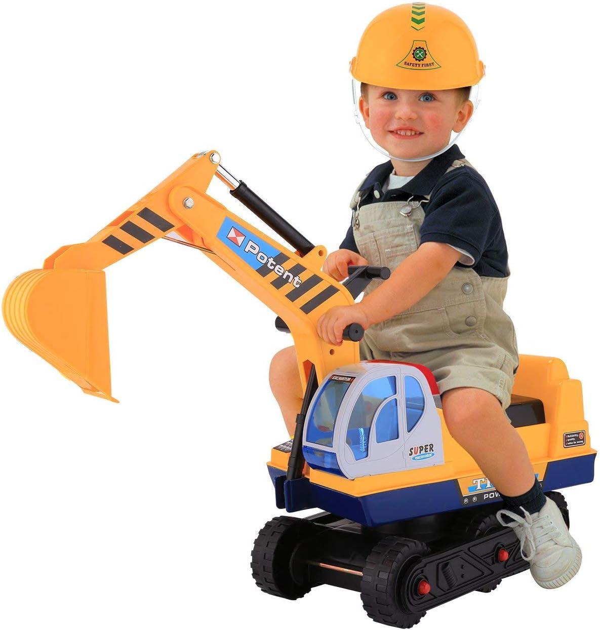 Profun Excavadora de Juguete con Asiento con Casco para Jugar con Arena con 2 Garras de Brazo Largo en la Playa en Casa para Niños, Color Amarillo