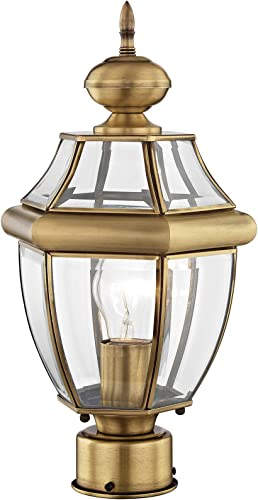 Livex Lighting 2153-01 Outdoor Post with Clear Beveled Glass Shades, Antique Brass