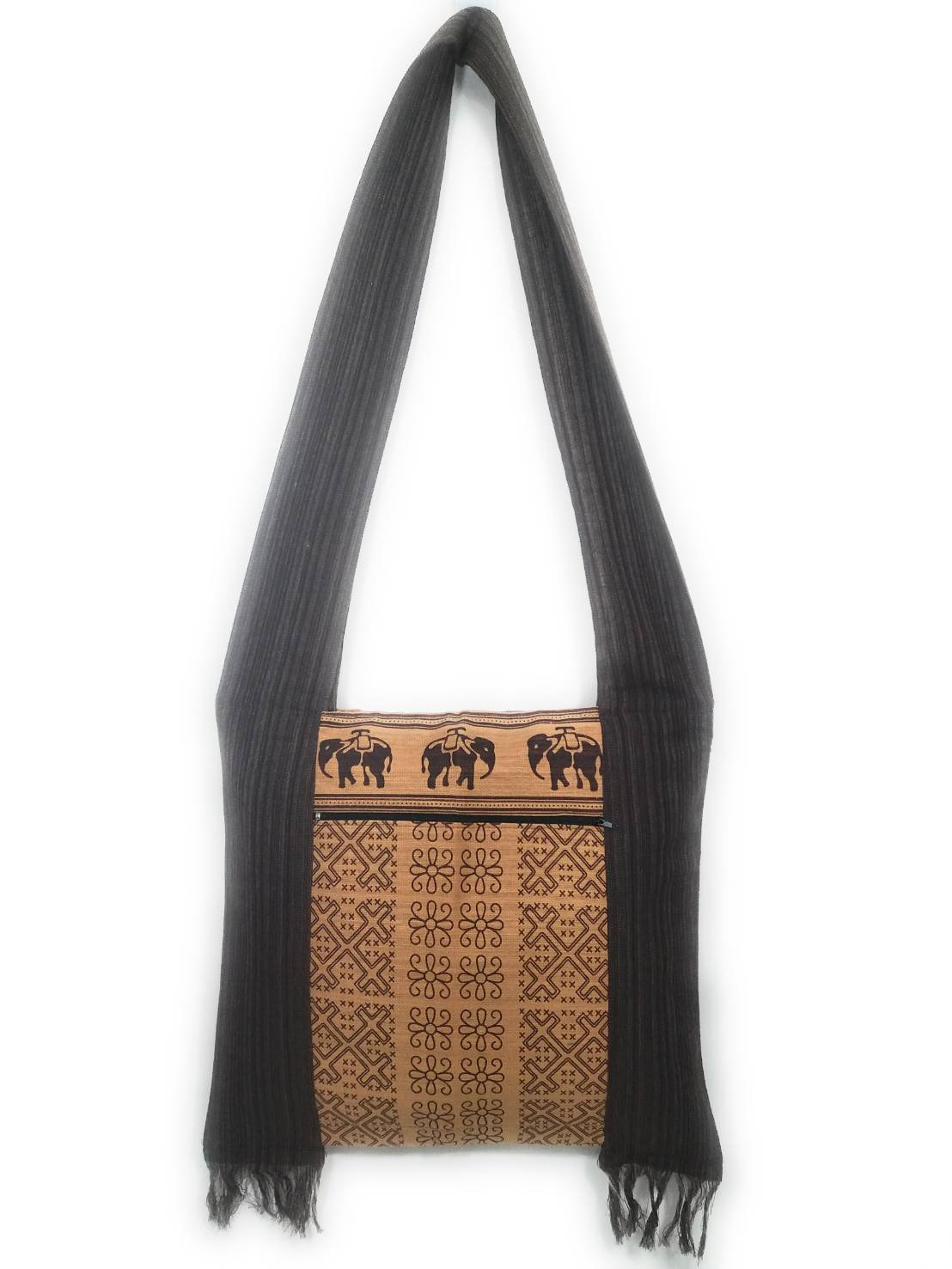 Kraft4Life NEW!!! Vintage Thai Cotton Hippie Hobo Sling Crossbody Bag Messenger Purse Ethnic Elephant Parade Christmas Gift (VT-BROWN1)