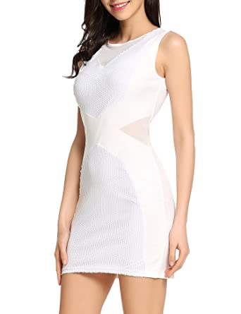 3013ccadf91ac Angvns Women Sexy Sleeveless Sequin Embellished Evening Party Club Pencil  Mini Dress at Amazon Women's Clothing store: