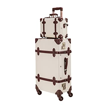 CO-Z Premium Vintage Luggage Sets 24  Trolley Suitcase and 12  Hand Bag Set with TSA Locks