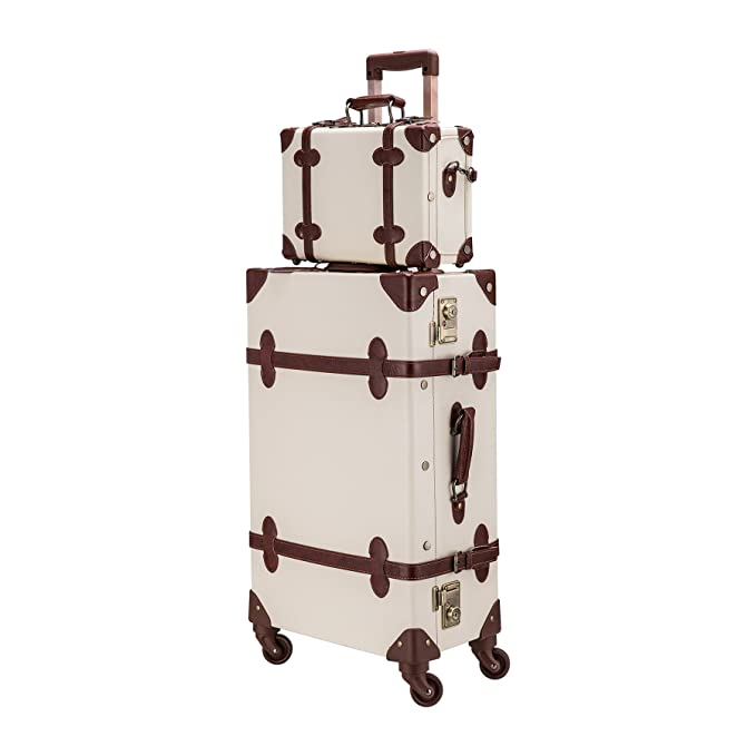 "CO-Z Premium Vintage Luggage Sets 24"" Trolley Suitcase and 12"" Hand Bag Set with TSA Locks (Pink + Beige) (12"" +24"" White)"