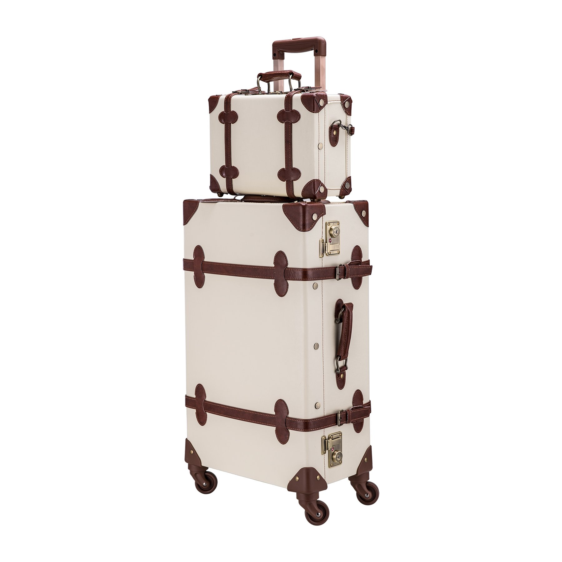 CO-Z Premium Vintage Luggage Sets 24'' Trolley Suitcase and 12'' Hand Bag Set with TSA Locks (Pink + Beige) (12'' +24'' White)