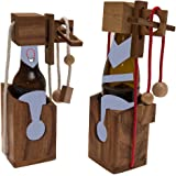 ROMBOL Flaschentresor - Edler Tresor aus Holz für Bierflaschen 0,33l und 0,5l, Bandfarbe:Rot