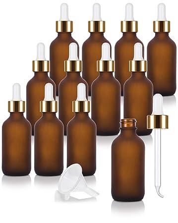 Amazon.com: Botella redonda de cristal de ámbar esmerilado ...