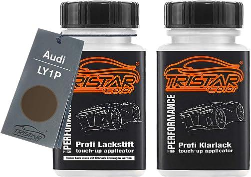 Tristarcolor Autolack Lackstift Set Für Audi Ly1p Dakotagrau Metallic Basislack Klarlack Je 50ml Auto
