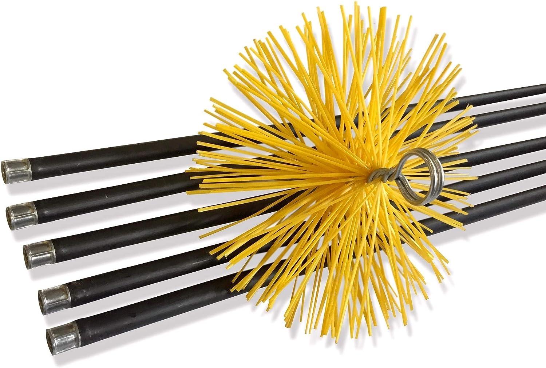 NBA Kibros - Kit de reparación de 7 metros con 5 cañas de 1,40 m y 1 cepillo erizo de nailon de 180 mm de diámetro para chimeneas, conductos, estufas, calderas, canalizaciones, canalones