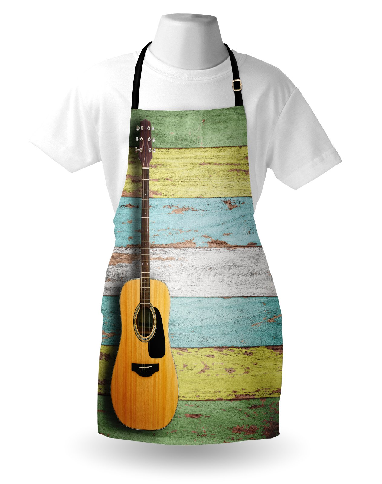 Ambesonne Music Apron, Acoustic Guitar on Colorful Painted Aged Wooden Planks Rustic Country Design Print, Unisex Kitchen Bib Apron with Adjustable Neck for Cooking Baking Gardening, Multicolor by Ambesonne (Image #3)