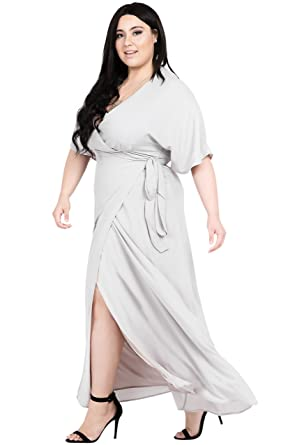 6163b4270df Standards   Practices Plus Size Modern Women s Light Grey Kimono Wrap Maxi  Dress ...