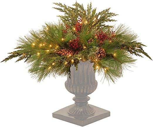 Amazon Com Cc Christmas Decor 30 Green Artificial Pine Urn Filler With Clear Lights Home Kitchen