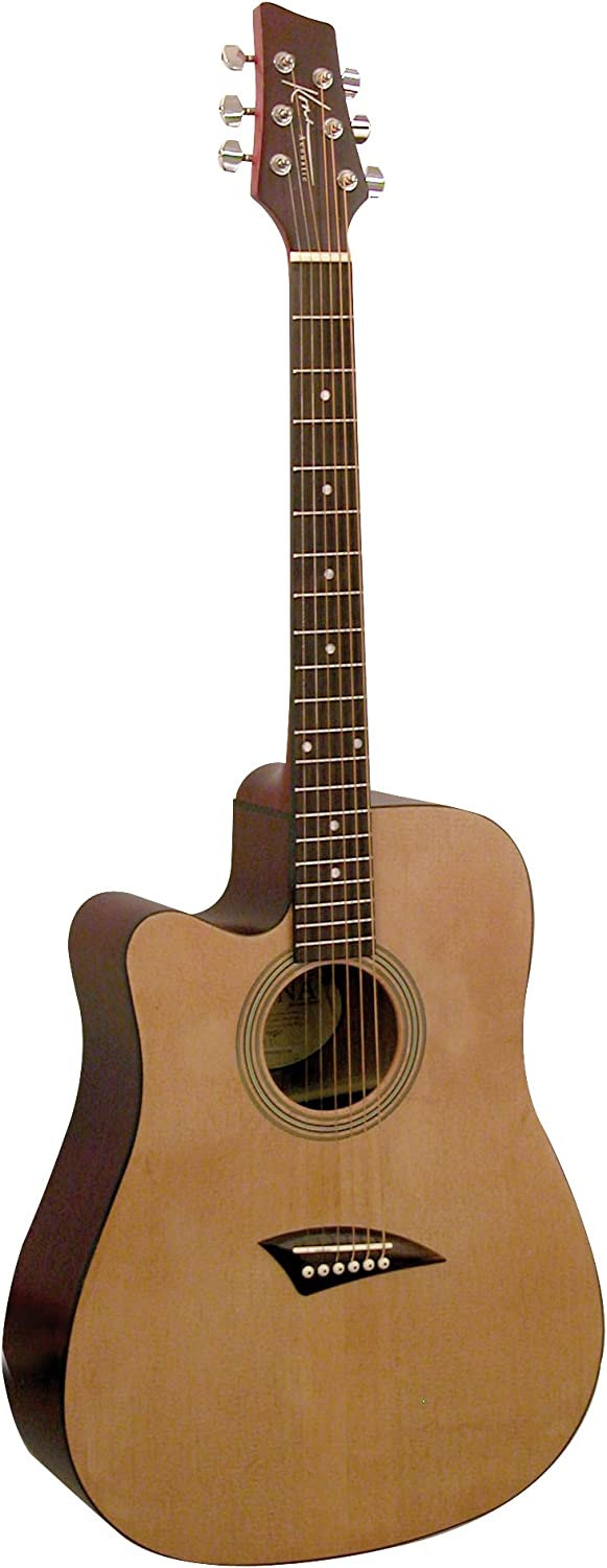 Kona K1L Left-Handed Acoustic Dreadnought Cutaway Guitar in Natural High Gloss Finish