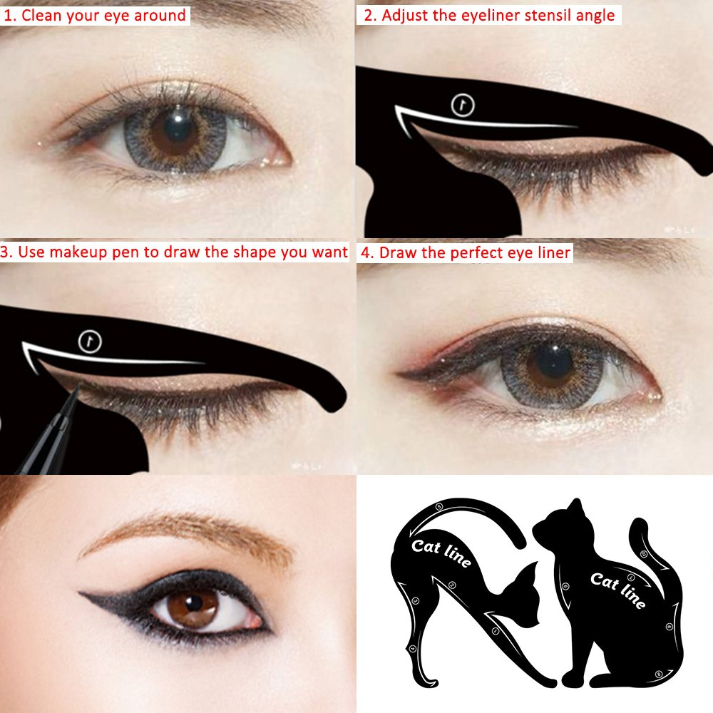 Template plate multifunction cat shape eye liner eye shadow guide repeatable professional eye makeup card tools matte pvc material black 4 pack beauty