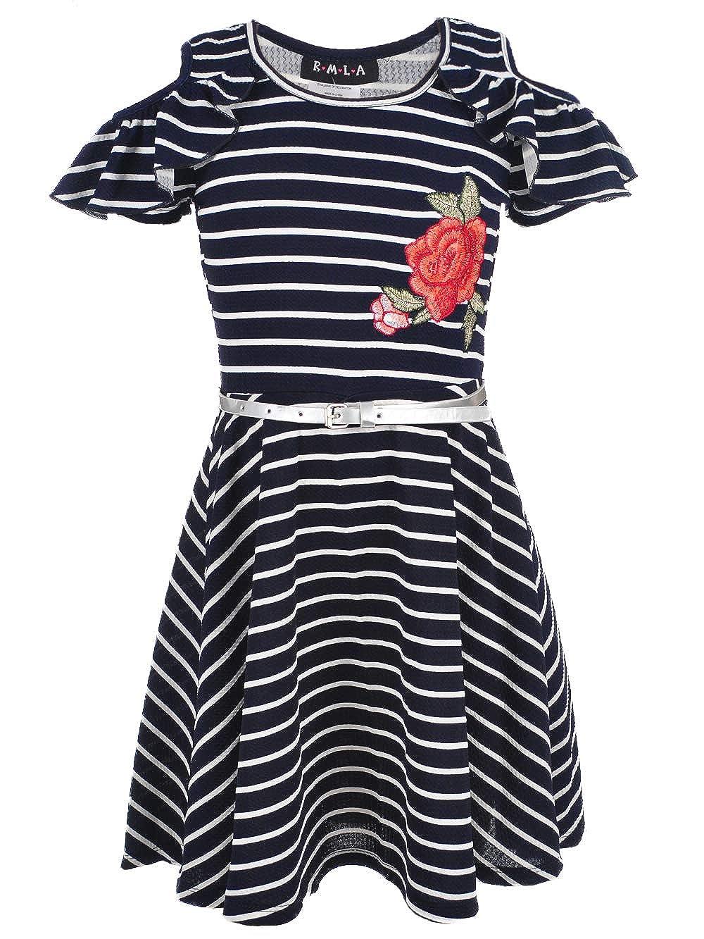 RMLA Girls' Cold Shoulder Belted Dress