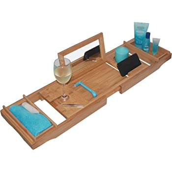 Amazon.com: HANKEY Bamboo Bathtub Caddy Tray (Extendable) Luxury Spa ...