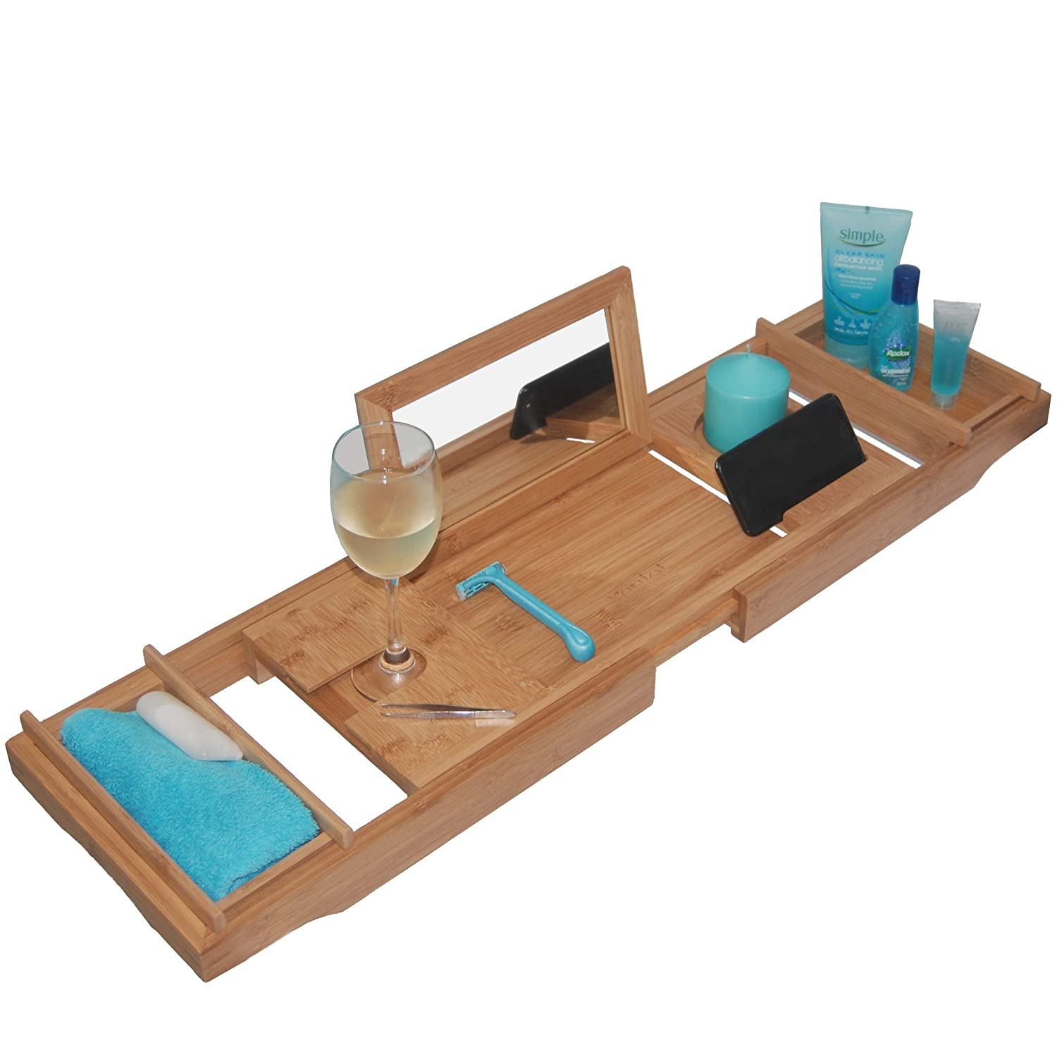 - THIS ONE HAS A MIRROR - Our Luxury Bamboo Bathtub Tray / Bathtub Caddy with MIRROR also comes with Extending Non Slip Sides, Wine Glass Holder, 2 Removable Storage Shelves & Much More xenjoi X-1996