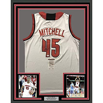 bcad3cdf8 Framed Autographed Signed Donovan Mitchell 33x42 Louisville Cardinals White College  Basketball Jersey JSA COA at Amazon s Sports Collectibles Store