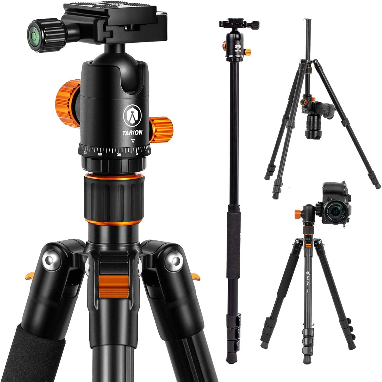 "TARION Camera Tripod Monopod 61in with Panorama Ball Head Aluminium Travel Tripod for DSLR Mirrorless Cameras Support Macro Shots Counter Weight 13lb Payload Lightweight 16.9"" Foldable Size"