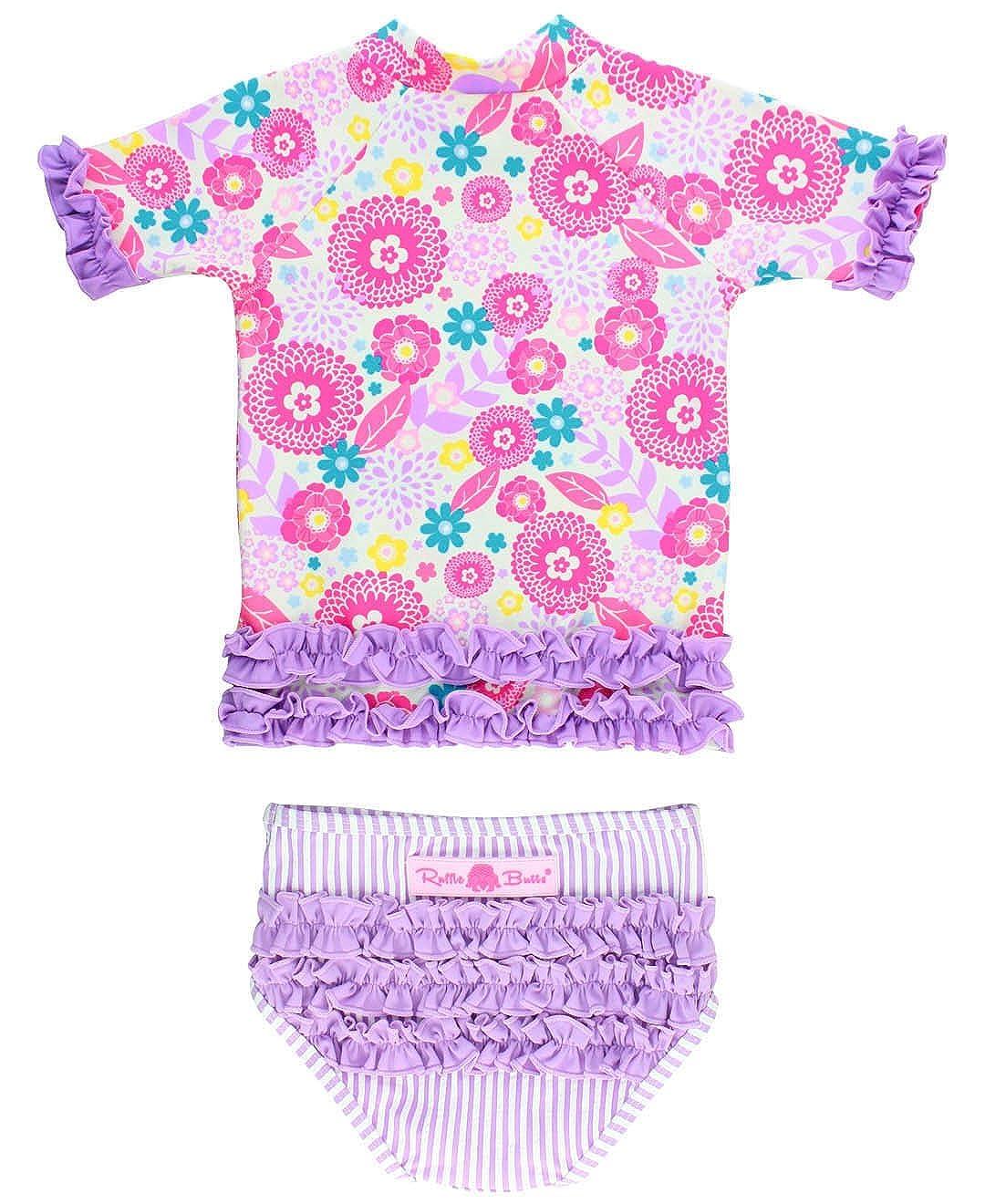 RuffleButts Little Girls Rash Guard 2-Piece Swimsuit Set - Floral Seersucker Bikini UPF 50+ Sun Protection RGSPUXX-SS00-TDLR