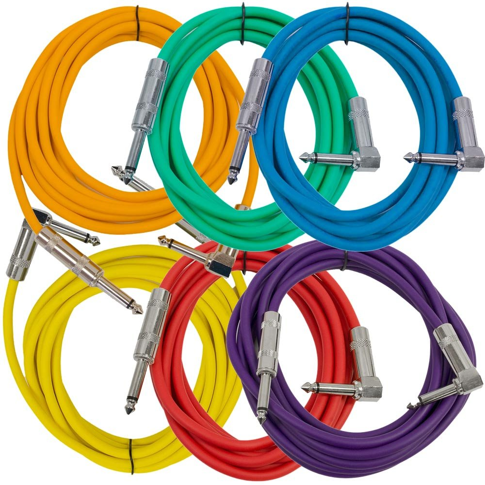 Seismic Audio SAGC10R-BRPGYO - 6 Pack of 10 Foot Multi-Colored Right Angle to Straight Guitar Cables