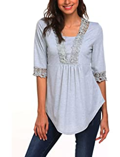 Sweetnight Womens Casual Half Sleeve Tops Scoop Neck T Shirt Blouses Tunic Blouse Shirts