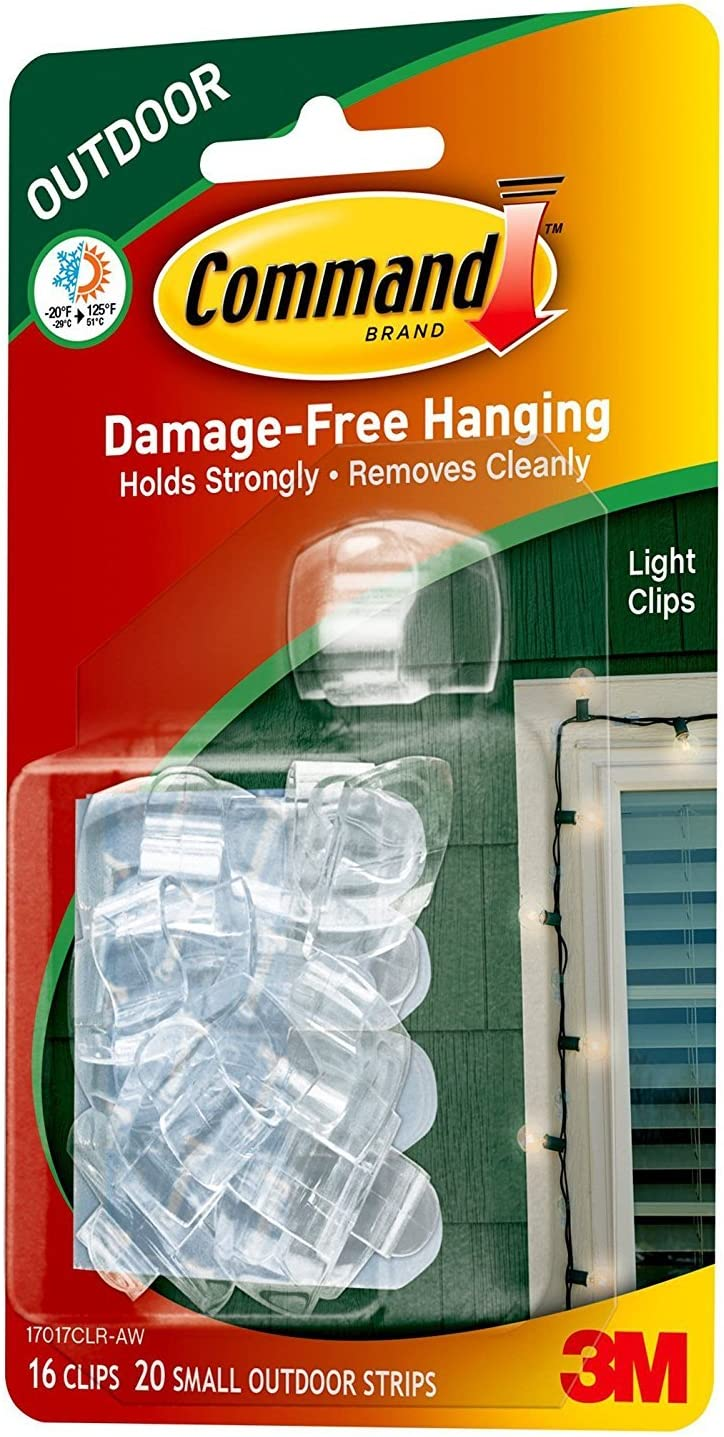 SELF ADHESIVE HOOKS /& STRIPS 3M COMMAND CHRISTMAS XMAS FAIRY LIGHT HOOKS CLEAR TWIN PACK