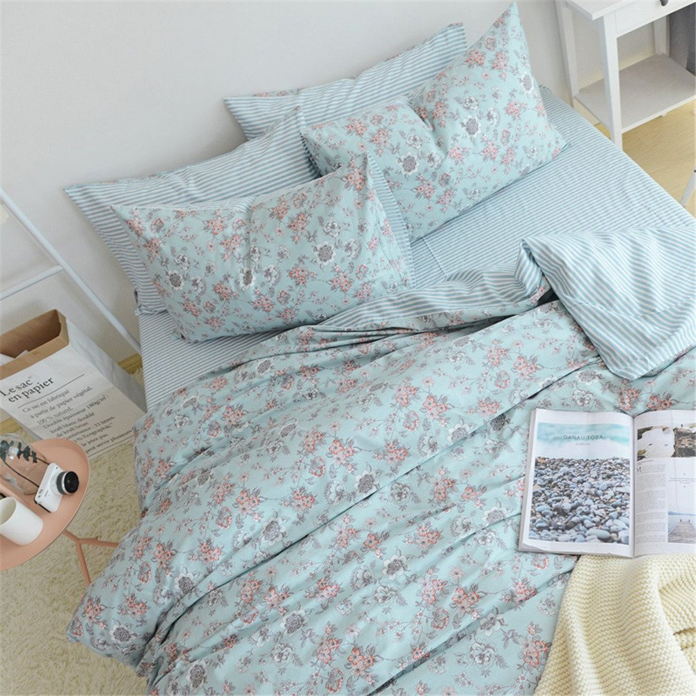Abreeze Shabby Roseand Bird Print Duvet Cover Sets,America Country Style,Flower Cotton Bedding Set,4-Piece Full Size